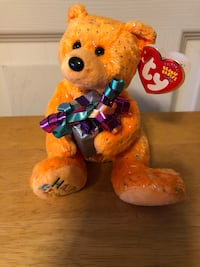 """TY Beanie Babies Collection-""""Happy Birthday"""", 2004, 7"""" Orange Bear w/Present. Plush toy collectible w/tags   Baltimore, 21236"""