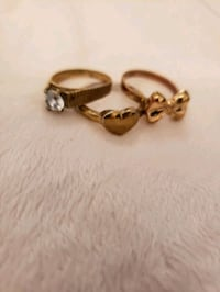 3 rings copper plated 14k gold and silver vintage Toronto
