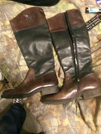 black-and-brown leather knee-high boots Pelahatchie, 39145