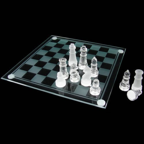 GLASS BOARD TRADITIONAL CHESS SET