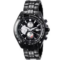New Black Chronograph Curren Stainless Steel Watch with Black Link Bracelet