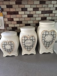 white ceramic canister set of 3 Surrey, V3R 0G4
