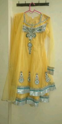 women's yellow and white floral dress