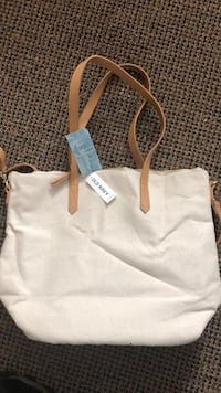 White and brown leather tote bag Frederick