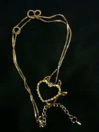 Silver Necklace with Gold Plated devil heart Hamilton, L8N