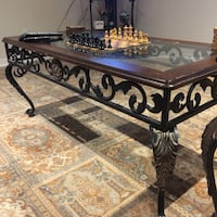 Ornate wood glass and iron coffee table w/side table Beaconsfield, H9W