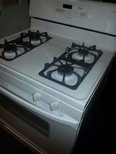 #1442 White Whirlpool gas stove (set up LP)