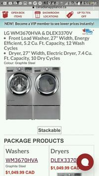 gray front-load washer and dryer set screenshot Mississauga, L5B