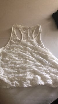 Lace razor back white shirt....looks great over cute bra or swimsuit - large Temple Hills, 20748