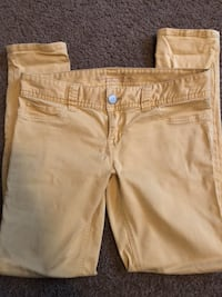 two brown and white denim bottoms