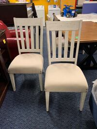 New Pair of White Solid Wood Dining Chairs w/ Upholstered Seats