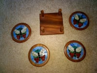 4 solid wood glass mosaic coasters and stand Hopkins, 55305