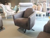 two gray suede sofa chairs THORNHILL