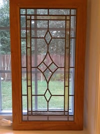 Beautiful stained glass window in wooden frame Centreville, 20121