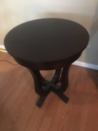 (2) Round black wooden side tables Manassas
