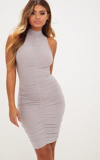 Pretty little thing : midi ice grey ruched dress Surrey