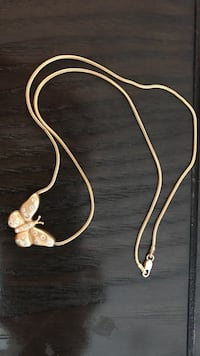 14K stamped butterfly necklace