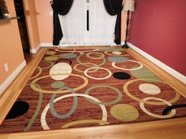 Red new Modern rug 5x8 Circles Retro rugs