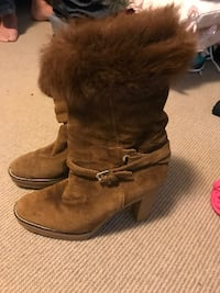 pair of brown suede fur-lined snow boots TORONTO