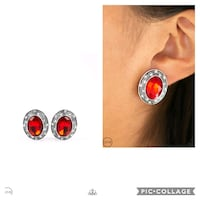 East side etiquette red clip on earrings