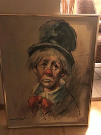 brown wooden framed painting of man Stow, 44224