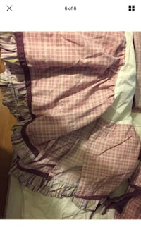 pink and purple butterfly and flower nursery set, includes bedskirt, valance , night light cover , bumper , sheet