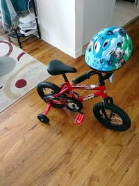 toddler's red and blue bicycle with training wheel Seat Pleasant, 20743