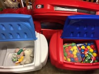 2 little tikes storage play bins, one with balls, the other with some toys