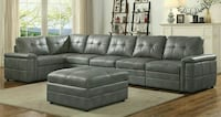 tufted gray leather sectional sofa Las Vegas, 89101