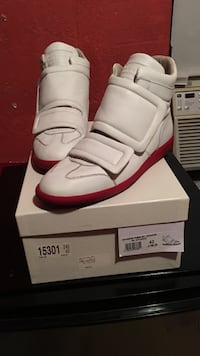 Maison martin margiela white-and-red high-top sneakers with box