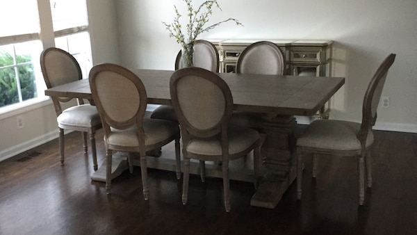 Rh Salvaged Wood Grey Dining Table And Chairs Set