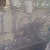 Tall decorative glass candlesticks w tiny raised glass-polkadotsPARIS Toronto, M5H 1L5
