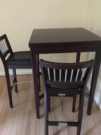 Rectangular black wooden table with two chairs dining set. Bar height table and chairs Silver Spring, 20904