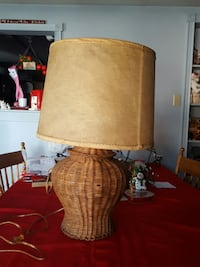 Vintage wicker lamp with fiberglass lamp shade