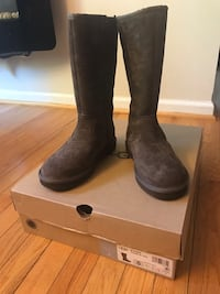 Pair of brown suede chunky heeled boots with box