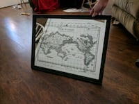 world map poster with black frame