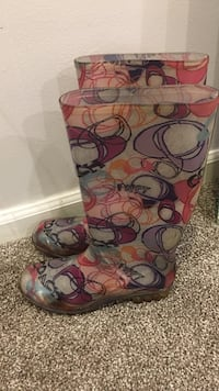Pink-grey-purple-red rain boots size 7