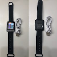 Black itouch smartwatch with black strap and charger collage Fresno, 93705