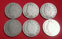 Lot of 6 Liberty Head Nickel  V Cents coin Glendale, 91205
