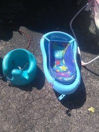baby's blue bather with bathtub; blue Bumbo seat Birmingham, 35209