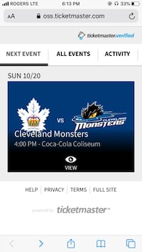 4 platinum tickets to Toronto marlies vs Cleveland monsters Toronto, M6M