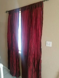 2 red curtains