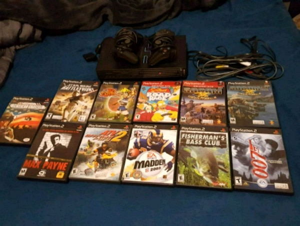 PS2 Console, 2 Controllers & Misc Games