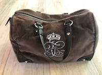 Royal Juicy Couture Hand Bag Velour Leather Trim Brown Purse
