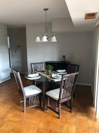 Rectangular brown wooden table with 4 chairs dining set 20 km