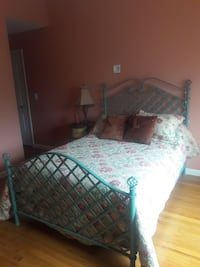 Green wrought iron bed frame and side table Dartmouth, 02747