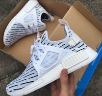 white-and-gray Adidas NMD shoes with box