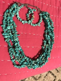 Turquoise rock necklace and hoop earrings