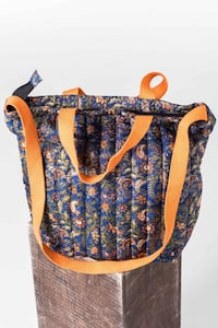 Recycled Silk Printed Quilted Wash Bag by AMPOUR