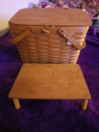 Handmade wooden picnic basket with table